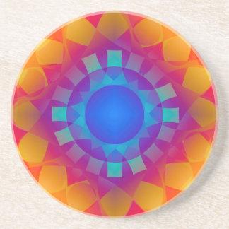 Porta-copos De Arenito Teste padrão azul e alaranjado de Sun