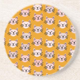 Porta-copos De Arenito Teste padrão bonito do gato na mostarda amarela