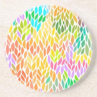 Porta-copos De Arenito Teste padrão colorido bonito das folhas