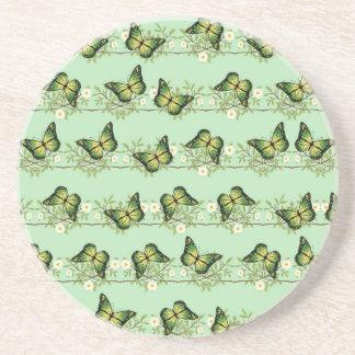 Porta-copos De Arenito Teste padrão de borboletas verde