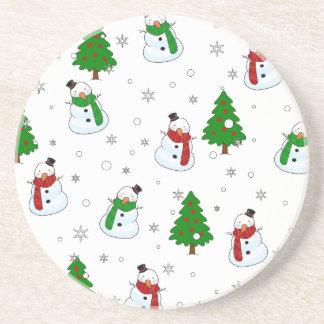 Porta-copos De Arenito Teste padrão do boneco de neve