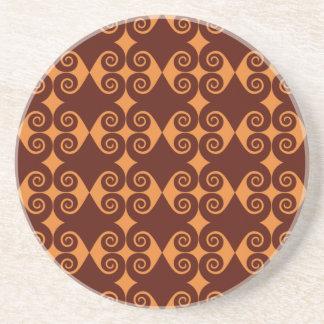 Porta-copos De Arenito Teste padrão encaracolado do diamante
