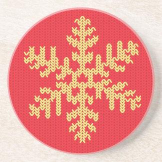 Porta-copos De Arenito Teste padrão feito malha do floco de neve