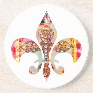 Porta-copos De Arenito Teste padrão floral da jóia de Fleur di lis Flor