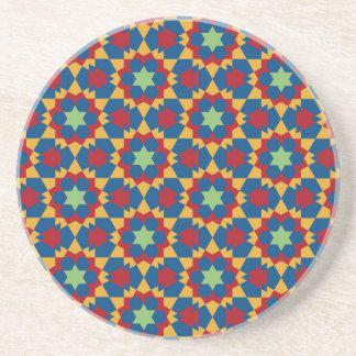 Porta-copos De Arenito teste padrão geométrico islâmico