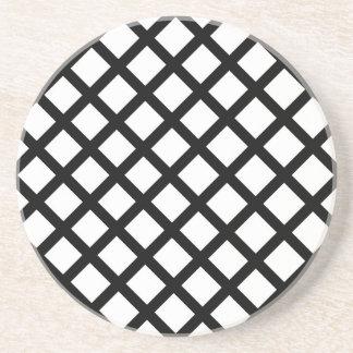 Porta-copos De Arenito Teste padrão simples preto e branco
