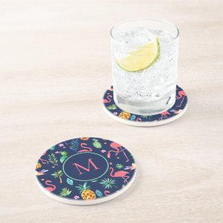 Porta-copos De Arenito Teste padrão tropical colorido dos flamingos & de