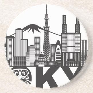 Porta-copos De Arenito Texto da skyline da cidade de Tokyo preto e branco