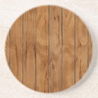 Porta-copos De Arenito Textura de madeira do assoalho do marrom escuro