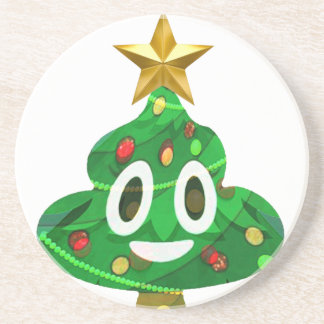 Porta-copos De Arenito Tombadilho Emoji da árvore de Natal