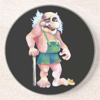 Porta-copos De Arenito Troll de vista engraçado escandinavo do ogre