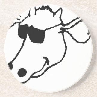 Porta-copos De Arenito Vaca de fumo com óculos de sol