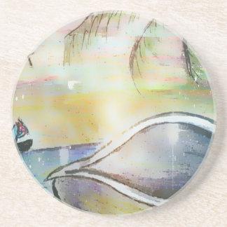 Porta-copos De Arenito Veleiros e Seashells