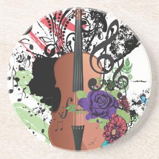 Porta-copos De Arenito Violino Illustration2 do Grunge