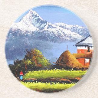 Porta-copos De Arenito Vista panorâmica da montanha bonita de Everest
