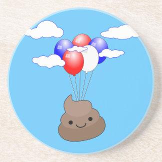 Porta-copos De Arenito Vôo de Poo Emoji com os balões no céu azul