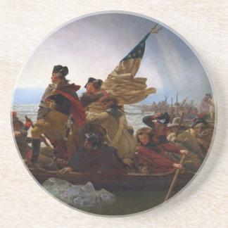Porta-copos De Arenito Washington que cruza arte do vintage do Delaware -