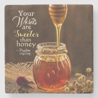 Porta Copos De Pedra 119:103 do salmo suas palavras são mais doces do