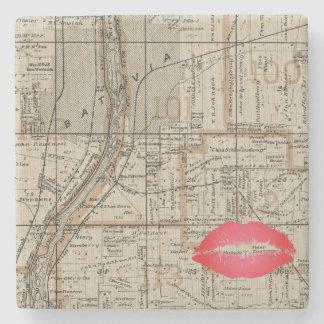 Porta Copos De Pedra A Batávia Illinois Plat Fox 1870 do mapa River