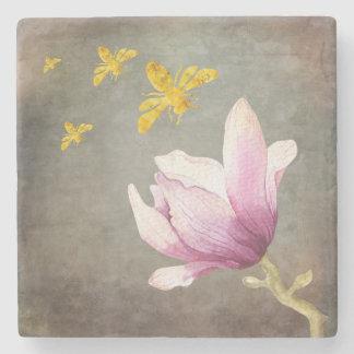 Porta Copos De Pedra Abelhas da flor & do ouro da aguarela