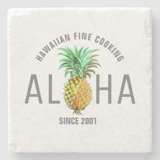 Porta Copos De Pedra Aloha texto com design tropical do abacaxi