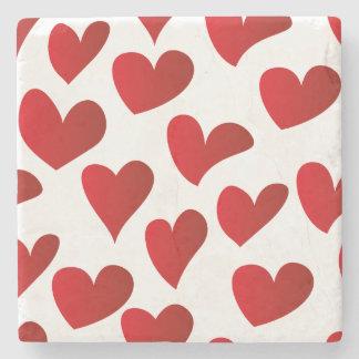 Porta Copos De Pedra Amor vermelho pintado teste padrão do coração da