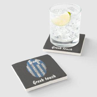 Porta Copos De Pedra Bandeira grega da impressão digital do toque