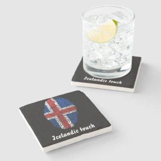 Porta Copos De Pedra Bandeira islandêsa da impressão digital do toque