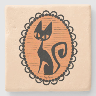 Porta Copos De Pedra Cameo do gato preto do Dia das Bruxas