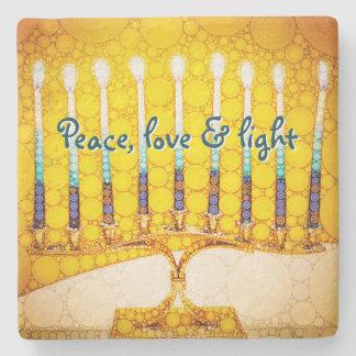 "Porta Copos De Pedra Da ""amor paz &"" foto amarela clara de Hanukkah"