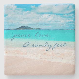 """Porta Copos De Pedra De """"Os pés Sandy"""" citam a foto azul do oceano & do"""