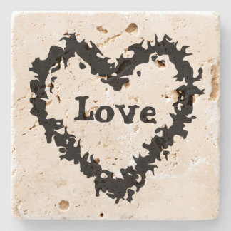 Porta Copos De Pedra Design artístico do coração do amor do abstrato do