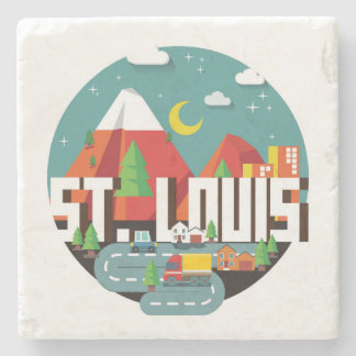 Porta Copos De Pedra Design geométrico de St Louis, Missouri