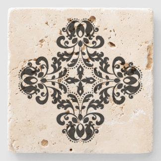 Porta Copos De Pedra Design preto geométrico do damasco