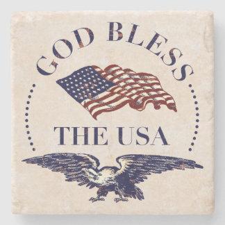 Porta Copos De Pedra Deus abençoe Os EUA - bandeira e vintage de Eagle