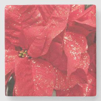 Porta Copos De Pedra Flor vermelha do Natal com pó dourado