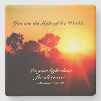 Porta Copos De Pedra Matthew 5 14-16 deixou seu brilho claro, verso da