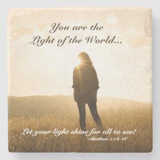 Porta Copos De Pedra Matthew 5 14-16 você é a luz do mundo
