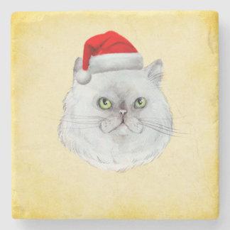 Porta Copos De Pedra Natal de Meowy! Um gato bonito com chapéu do papai