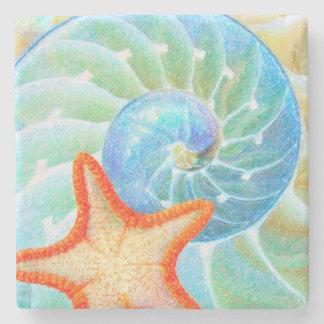 Porta Copos De Pedra Nautilus e estrela do mar
