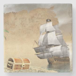 Porta Copos De Pedra Navio de pirata que encontra o tesouro - 3D rendem