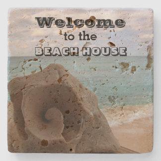 Porta Copos De Pedra Oceano náutico do Seashell da boa vinda da casa de
