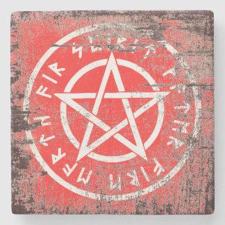 Porta Copos De Pedra Pentagram branco de Wiccan no estilo envelhecido