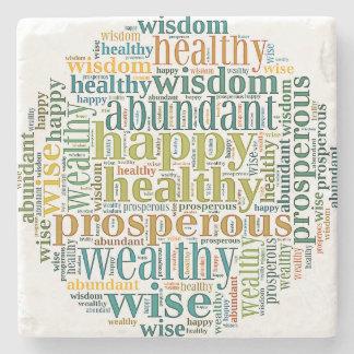 Porta Copos De Pedra Poder-Palavras para a prosperidade na porta copos