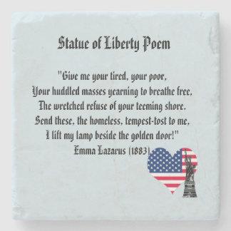 Porta Copos De Pedra Poema da estátua da liberdade
