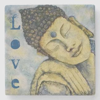 Porta Copos De Pedra Porta copos azul da pedra do amor da arte de