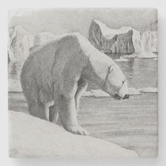 Porta Copos De Pedra Porta copos da pedra do urso polar da arte da