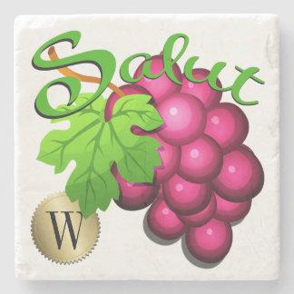 Porta Copos De Pedra Porta copos do monograma das uvas para vinho de