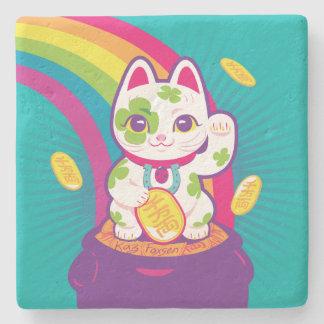 Porta Copos De Pedra Pote de boa sorte de Maneki Neko do gato de ouro