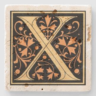 Porta Copos De Pedra Preto do vintage & ` X da letra do ouro'